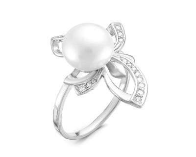 Кольцо из серебра с белой речной жемчужиной 9,5-10 мм