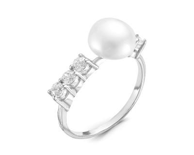 Кольцо из серебра с белой речной жемчужиной 8 мм