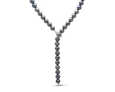 "Ожерелье ""галстук"" из черного круглого жемчуга. Жемчужины 8,5-9,5 мм"