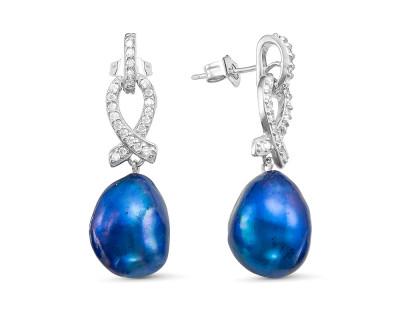 """Серьги из серебра с синими речными жемчужинами """"Барокко"""" 11-12 мм"""