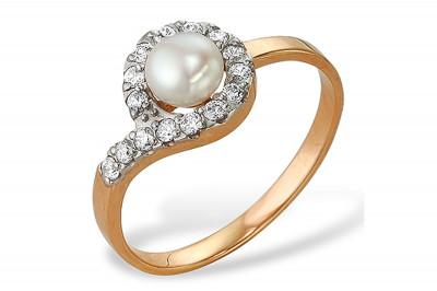 Кольцо из серебра с белой речной жемчужиной 6-6,5 мм
