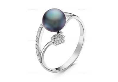 Кольцо из серебра с черной речной жемчужиной 7,5-8 мм