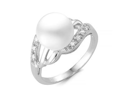 Кольцо из серебра с белой речной жемчужиной 8,5-9,5 мм