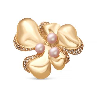 """Брошь """"Цветок"""" из сплава с розовыми речными жемчужинами 9 мм"""