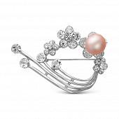 """Брошь """"Цветы"""", украшенная розовой жемчужиной 10,5-11 мм"""