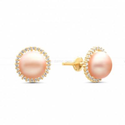 Серьги-гвоздики из серебра с розовыми речными жемчужинами 8,5-9 мм