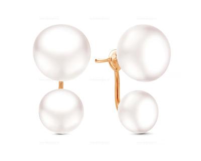 """Пусеты """"Диор"""" из серебра с белыми речными жемчужинами 10,5-12 мм"""