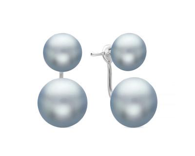 """Пусеты """"Диор"""" из серебра с серебристыми речными жемчужинами 9-11,5 мм"""