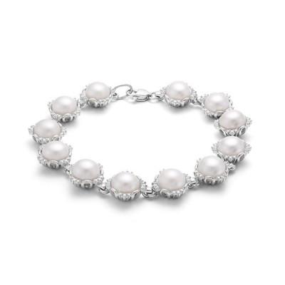 Браслет из серебра с белыми речными жемчужинами. Жемчужины 8-8,5 мм