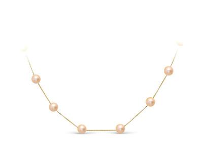Цепочка из серебра 925 пробы с розовыми речными жемчужинами 7-7,5 мм