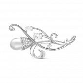 Брошь из серебра с белой Австралийской жемчужиной 9-9,5 мм