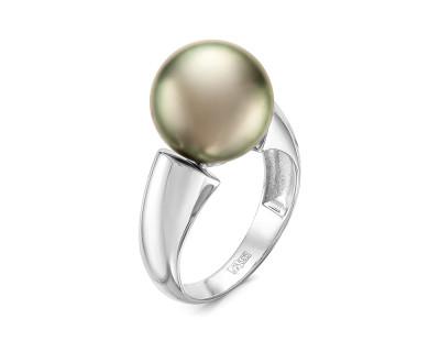 Кольцо из серебра с черной морской Таитянской жемчужиной 11,6-11,9 мм