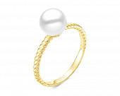 Кольцо из золота с морской жемчужиной Акойя. Жемчужина 7-7,5 мм