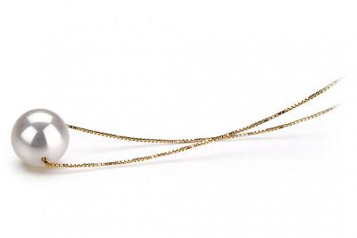 Цепочка из желтого золота с белой морской жемчужиной 10-10,5 мм. Длина 45 см