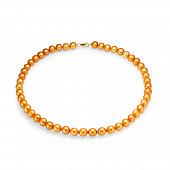 Ожерелье из золотистого круглого речного жемчуга. Жемчужины 9-10 мм