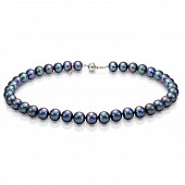 Ожерелье из черного круглого речного жемчуга. Жемчужины 8-8,5 мм