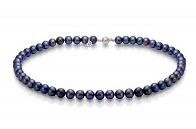 Ожерелье из черного круглого речного  жемчуга. Жемчужины 7-7,5 мм