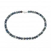 Ожерелье из черного круглого жемчуга со стразами. Жемчужины 7,5-8 мм