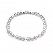Ожерелье из 30 жемчужин из серебристого речного жемчуга 10,5-12 мм со вставками из серебра