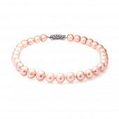 Ожерелье из 30 жемчужин из розового круглого речного жемчуга. Жемчужины 12-14 мм