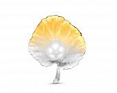 """Брошь """"Листок"""" с белой Австралийской жемчужиной 10-11 мм"""
