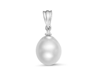 Кулон из серебра с белой морской Австралийской жемчужиной 9,6-9,9 мм