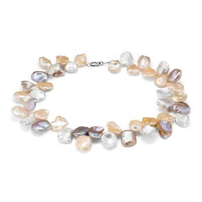 """Ожерелье """"микс"""" из барочного речного жемчуга. Жемчужины 13-15 мм"""