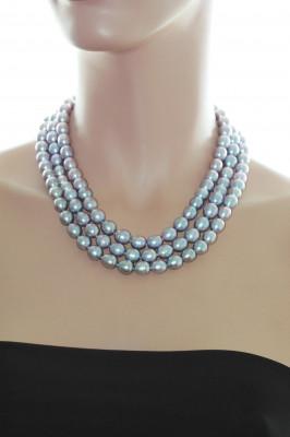 Ожерелье 3-рядное из серебристого рисообразного речного жемчуга 10-11 мм