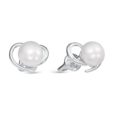 """Серьги """"Сердечки"""" из серебра c белыми речными жемчужинами 6-6,5 мм"""