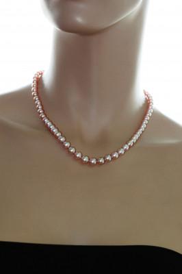 Ожерелье из лавандового речного круглого жемчуга. Жемчужины 7-7,5 мм