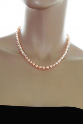 Ожерелье из розового круглого речного жемчуга. Жемчужины 7-7,5 мм