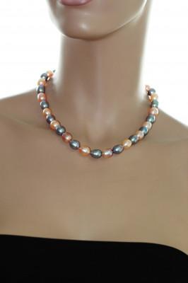 """Ожерелье """"микс"""" из рисообразного речного жемчуга. Жемчужины 10-11 мм"""