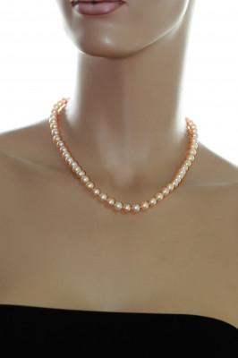 Ожерелье из розового круглого речного жемчуга. Жемчужины 8-8,5 мм