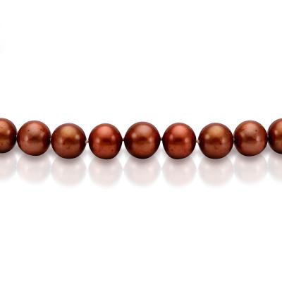 Ожерелье из шоколадного круглого речного жемчуга. Жемчужины 8,5-9,5 мм