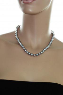 Ожерелье из серого круглого речного жемчуга. Жемчужины 7-7,5 мм