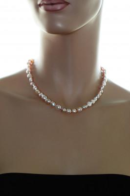 """Ожерелье из """"микс"""" из барочного розового речного жемчуга. Жемчужины 9-10 мм"""