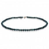Ожерелье из черного круглого морского жемчуга Акойя (Япония). Жемчужины 5,5-6 мм
