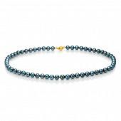 Ожерелье из черного круглого морского жемчуга Акойя (Япония). Жемчужины 6-6,5 мм