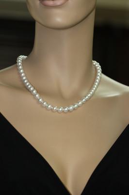 Ожерелье из  белого круглого морского жемчуга Акойя (Япония). Жемчужины 7-7,5 мм