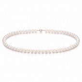 Ожерелье из белого круглого морского жемчуга Акойя (Япония). Жемчужины 6,5-7 мм