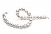 Ожерелье из белого круглого морского жемчуга Акойя (Япония). Жемчужины 9,5-10 мм
