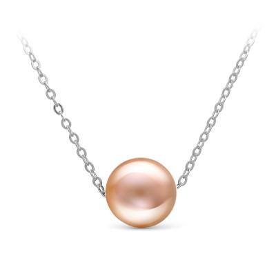 Цепочка из белого золота с розовой морской жемчужиной 9,5-10 мм. Длина 45 см