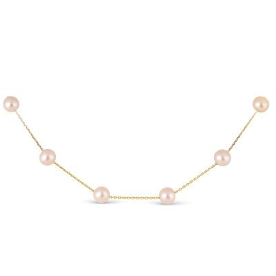 Цепочка из желтого золота с розовыми морскими жемчужинами 7-7,5 мм. Длина 42 см