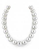 Ожерелье из белого круглого морского Австралийского жемчуга 12-14,1 мм