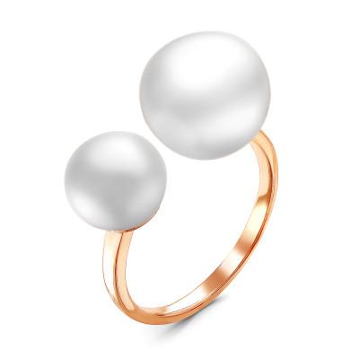 """Кольцо """"Диор"""" из серебра с белыми речными жемчужинами 7,5-11 мм"""