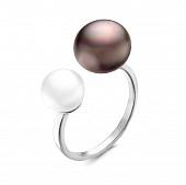 """Кольцо """"Диор"""" из серебра с белой и черной речными жемчужинами 8,5-12 мм"""