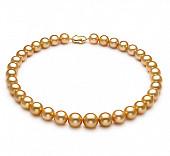 Ожерелье из золотистого круглого морского Австралийского жемчуга 14-15,9 мм