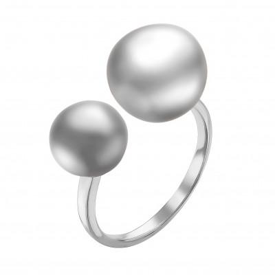 """Кольцо """"Диор"""" из серебра с серебристыми речными жемчужинами 9-10,5 мм"""