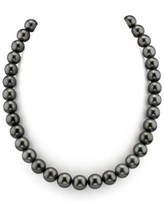 Ожерелье из черного круглого морского Таитянского жемчуга 11-13,2 мм