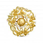 """Брошь-кулон """"Цветок"""" с Австралийской золотой жемчужиной 10,6-10,9 мм"""